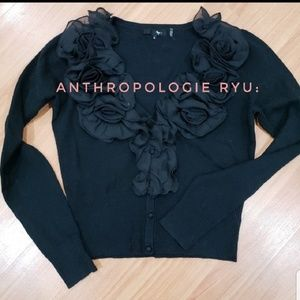 RARE ANTHROPOLOGY RYU : black ruffle cardigan  L